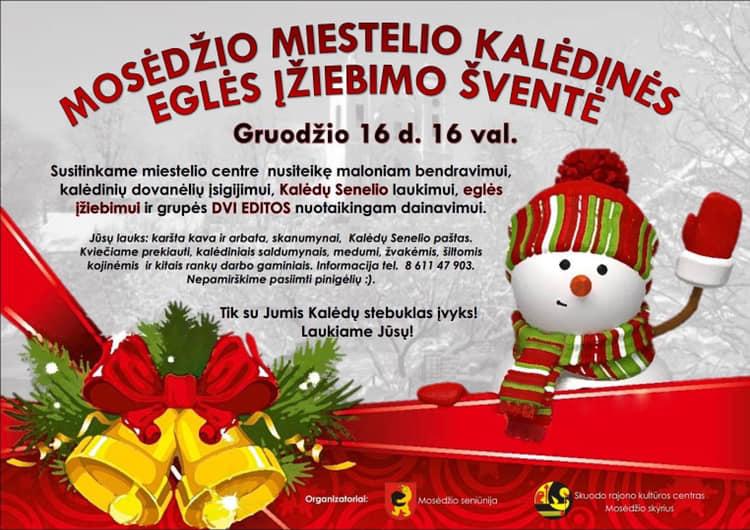 Kalėdinės eglutės įžiebimo šventė Mosėdyje