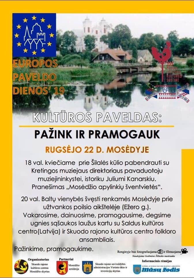 """Mosėdyje – Europos kultūros paveldo diena """"Pažink pramogaudamas"""